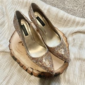 WHBM Silver & Gold Sequined Pointy Toe Heels 7.5